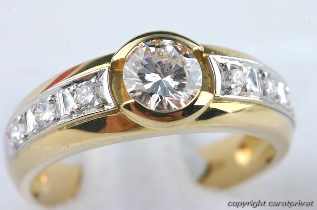 solit r brillant ring gold mit brilliant diamant 0 6 ct ebay. Black Bedroom Furniture Sets. Home Design Ideas