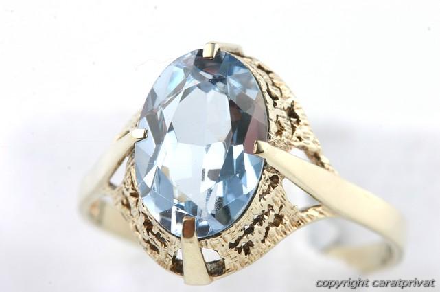 gold ring 585 mit blauem stein goldschmuck damenring ebay. Black Bedroom Furniture Sets. Home Design Ideas